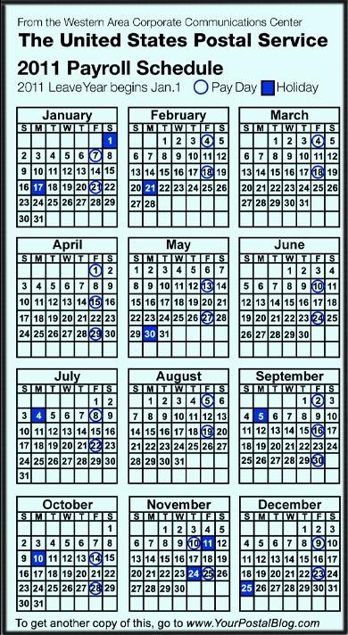 2011 Postal Payroll Calendar | Your Postal Blog
