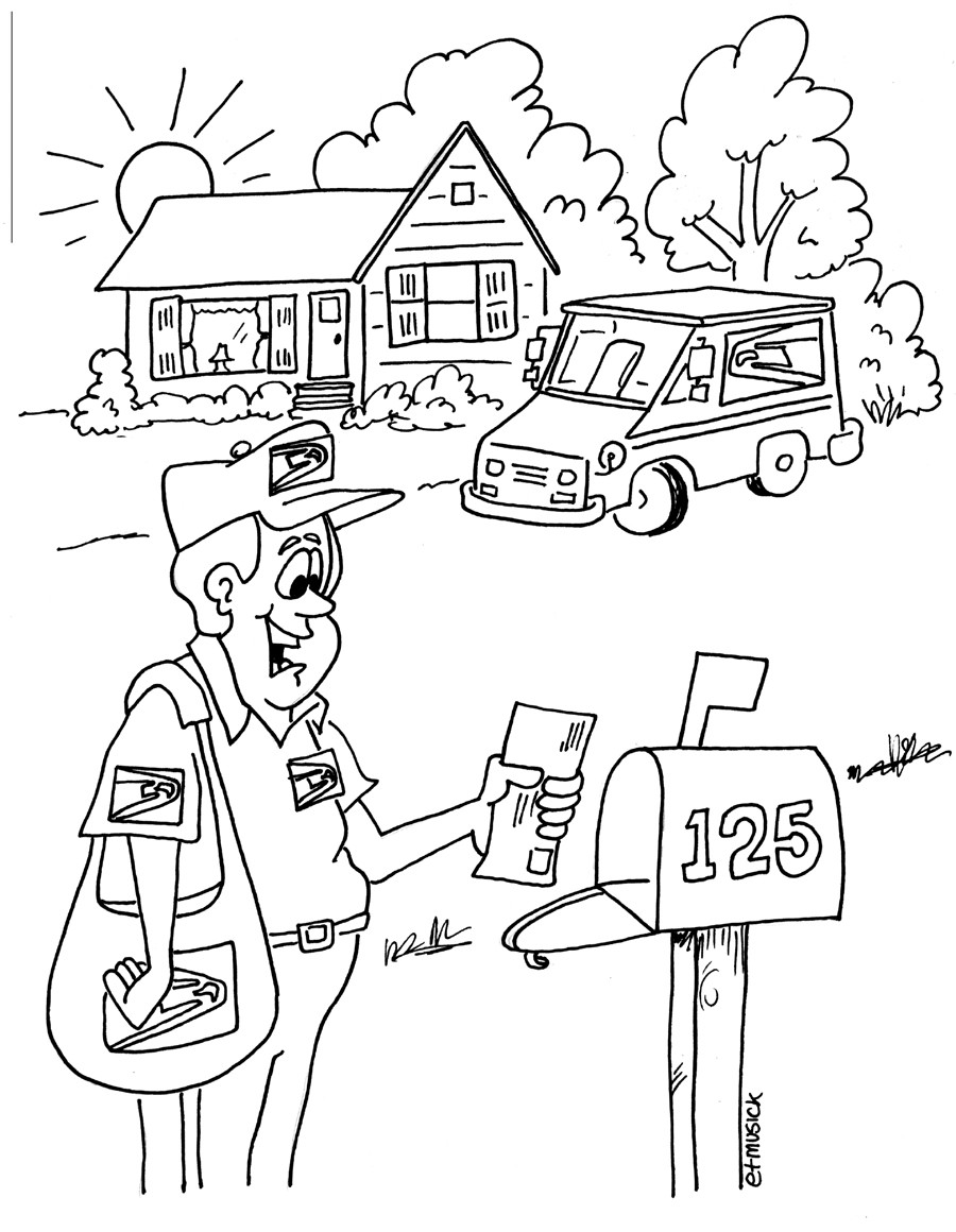 Postal Coloring Page For Kids Your Postal Blog