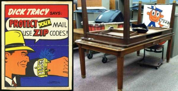 Even comic strip detective Dick Tracy (left) got involved in promoting ZIP Codes when they were first introduced. Tables, file cabinets and a Mr. ZIP poster (right) are among dozens of items awaiting auction buyers at a Kansas postal facility.