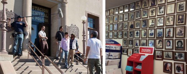 Photos (Left): Film actors Bradley Cooper (third from left), Ed Helms and Zach Galifianakis act out a scene for Director Todd Phillips (far right) in front of the Nogales, AZ, Post Office. Hollywood movie magic recently transformed the postal facility into a stand-in for a Mexican jail during production of the starring trio's new film. (Right photo:) A few of the 250 celebrity photos currently on display at the Nashville, TN, Post Office's Acklen Station include pictures of Eric Church and Garth Brooks. (Nogales photo by Melinda Sue Gordon.)