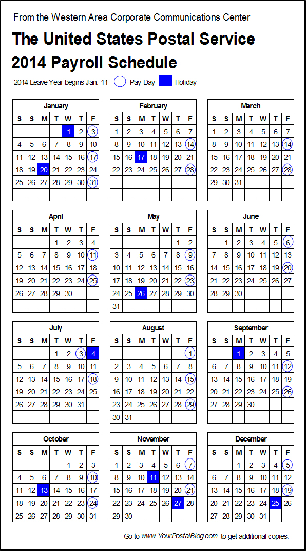 Postal Payroll Calendar  Your Postal Blog