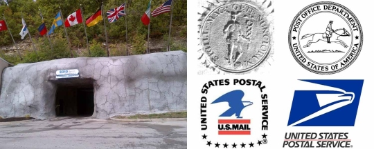 An entrance to Kansas City's unusual headquarters for U.S. stamp distribution (left) is reminiscent of a caped crusader's secret cave. The Postal Service's logos and seals have seen a few changes over the past couple of centuries; four, including the oldest and newest, are shown here (right).