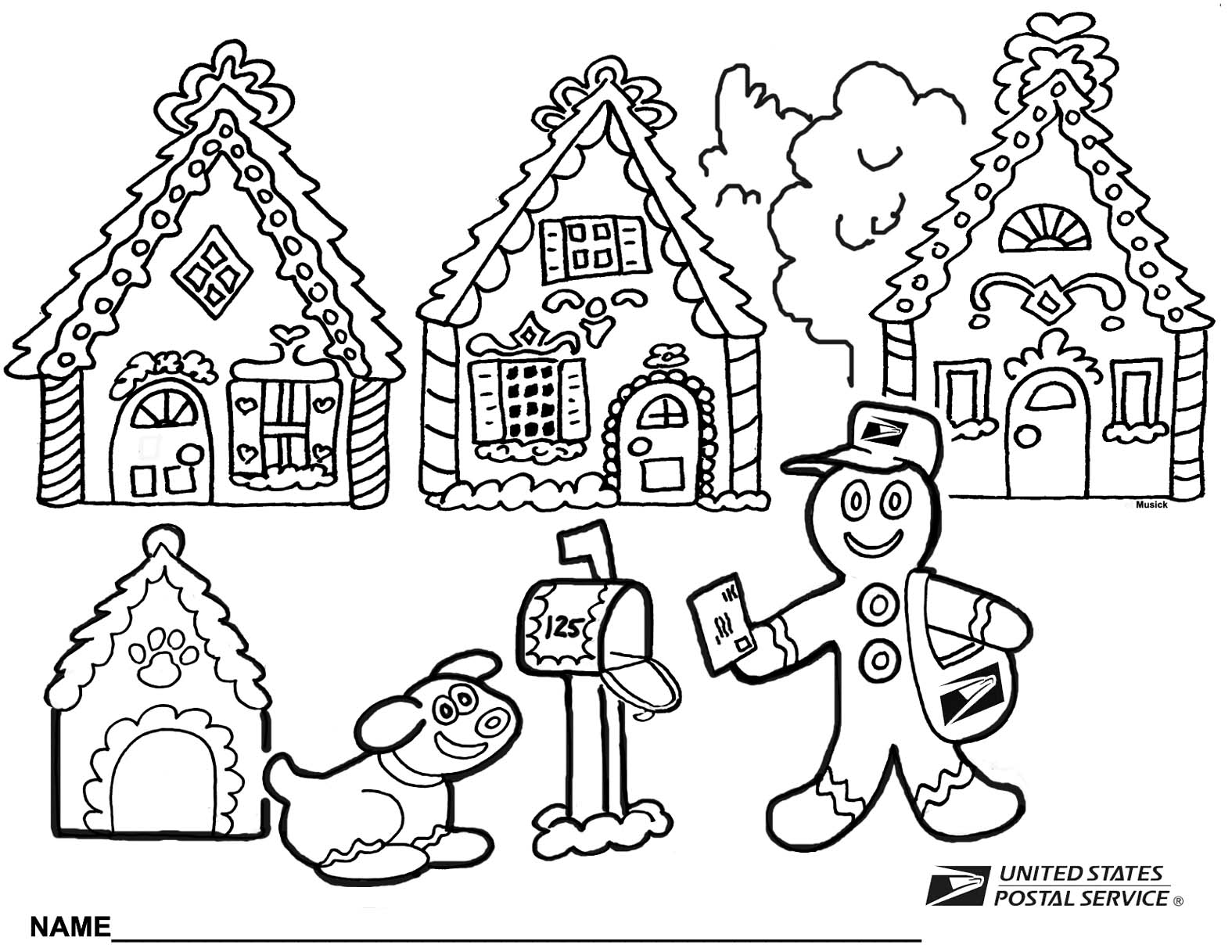 Printable coloring pages gingerbread house - Christmas2013