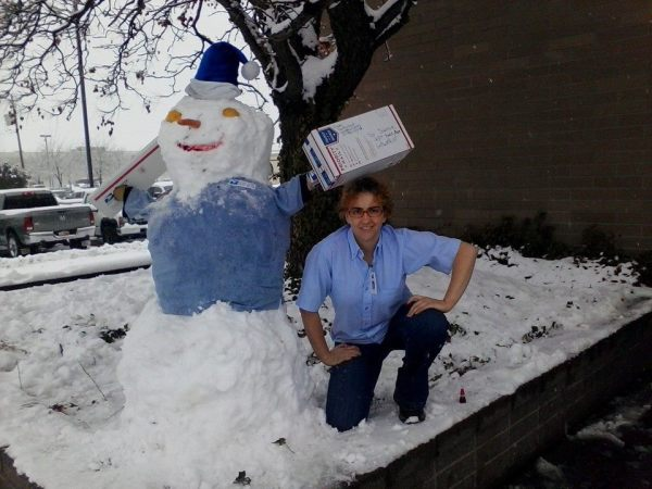 Priority Mail Snowman