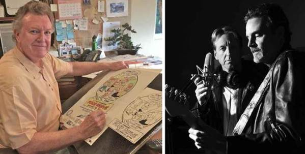"Family Circus cartoonist Jeff Keane (left) displays this year's poster artwork for the Stamp Out Hunger Food Drive at his California studio.  Right: Steve Byam and Craig Randolph, fellow Medford, OR, letter carriers are making music together in their band, ""Post."" Photo by Spencer Keane"