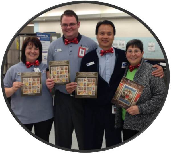 "Clearfield , UT, Post Office Retail Associates Brandi Sandry, Jared Gardner, Haohane ""Howie"" Douangdara, and Supervisor Cyndee Gallegos celebrate the new Vintage Circus Posters stamp series with colorful bow ties."