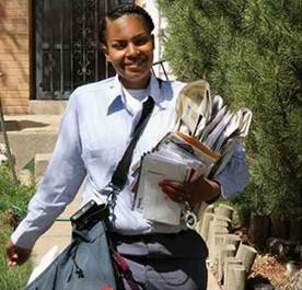 "Aurora, CO, City Carrier Tasha Ewing (left photo) is still in her probationary period and is already been hailed with a USPS ""Super Hero"" Award for her good deeds."