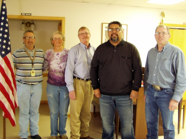 Pictured left to right, Current Postmaster Don Race, Charlette Denney, Curt Artery (Postmaster from 2001-2004), Post Office Operations Manager Jerry Martinez, and Mike Pexton, (Postmaster from 1997-2001.)