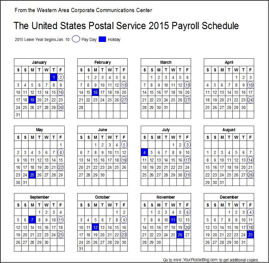 2015 Postal Payroll Calendar | Your Postal Blog