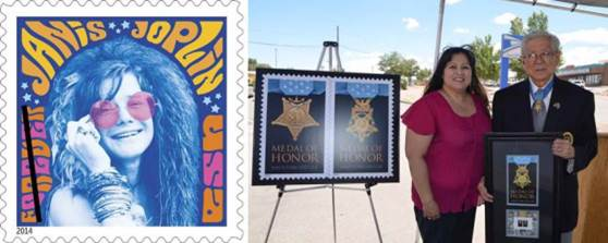 Left: The new Janis Joplin Forever Stamp. Right: Korean War hero Hiroshi Miyamura receives a framed version of the new Medal of Honor - Korean War stamps from Gallup, NM, Postmaster Thelma Malone.