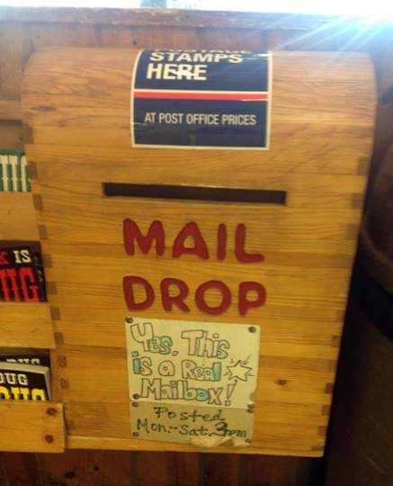 Outgoing box at the 76,000 square foot Wall Drug Store in Wall, SD.