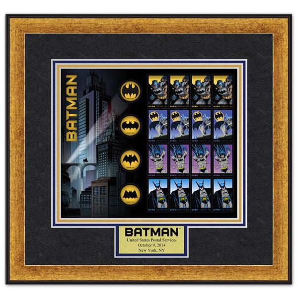 Framed Batman stamps