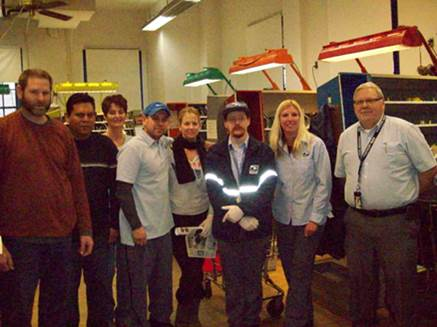 Some of the Prosser, WA, letter carriers recognized for driving over five years with no at-fault vehicle accidents.  From the left – Ben Ancock, Juan Reyes, Tina Hutson, Juan Gonzalez, Terri Taylor, Robert Nabers, Brenda Hultberg and Postmaster Larry Stone.