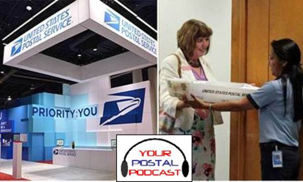 (Left photo) The U.S. Postal Service hosted a highly-praised exhibit at the 2015 Consumer Electronics Show in Las Vegas earlier this year. In the photo to the right, Helen Simmons, founder of Write2Them, presents a tray of letters for military recruits to Colorado Springs Air Force Academy Post Office Sales & Service Associate Agnes Martin.
