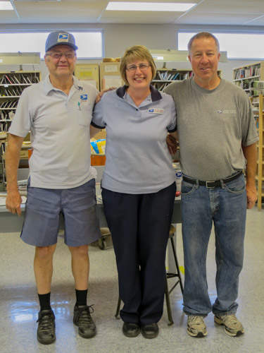 City Carrier Leonard Frantz, Retail Associate Kathryn Woelk, and Rural Carrier Edward Weber.