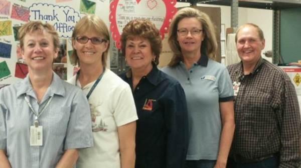 Retail Associate Connie Evans, Rural Carrier Paige Roath, Postmaster Darlene Winterer, Retail Associate Lori Rees, Rural Carrier Blaine Fackrell.