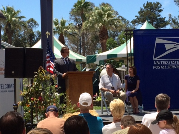 USPS Western Area Vice Drew Aliperto discussed the new Summer Harvest stamps at the California State Fair.