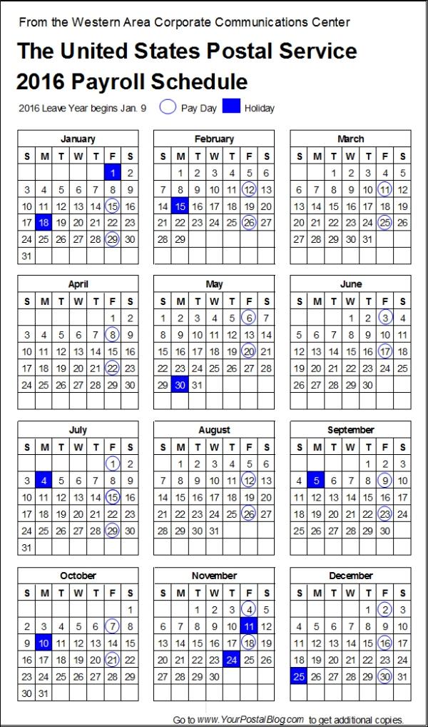 2016 Postal Payroll Calendar Long