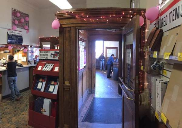 Powell, WY, Post Office is adorned with many reminders of the race to find the cure for breast cancer.