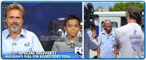 Left: Sandy, UT, City Carrier Assistant Ron Lynch and 12-year-old Mathew Flores are interviewed on FOX News Channel's FOX & Friends after a groundswell of online interest in Lynch's plea for book donations for his young customer. Right: Glendale, AZ, City Carrier Mike Raymer talks with reporters about his letter to customers on his route after the handwritten note was posted online and went viral.