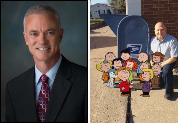 Left: USPS Consumer Advocate John Budzynski. Right: Sycamore, OH, Postmaster Earl Musick poses with the Peanuts Gang (thanks to the USPS Augmented Reality App, available for Android and iPhones).