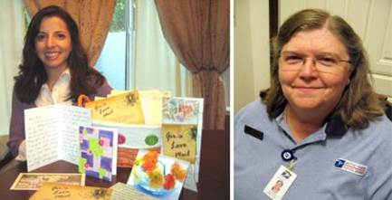 Left: Gina Mulligan of Folsom, CA, founded 'Girls Love Mail' so that letters of encouragement go to women diagnosed with breast cancer. Right: Retail Associate Deanna Eliason loves providing outstanding service to customers at her Post Office in Marsing, ID.