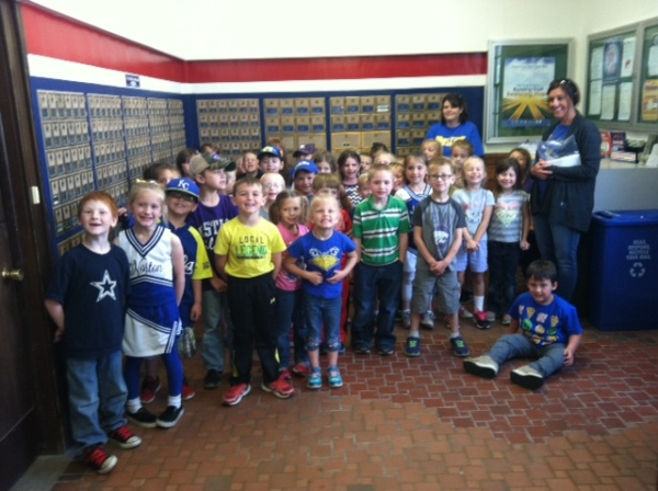 Kindergartners in Norton, KS, visit their local Post Office