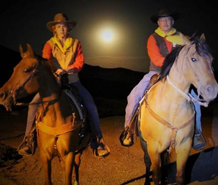 Elana Heer, daughter of Guernsey, WY, Clerk Jane Heer along with Guernsey Postmaster Curt Artery carried mail across Southeast Wyoming, guided only by moonlight, during a Pony Express reenactment ride.