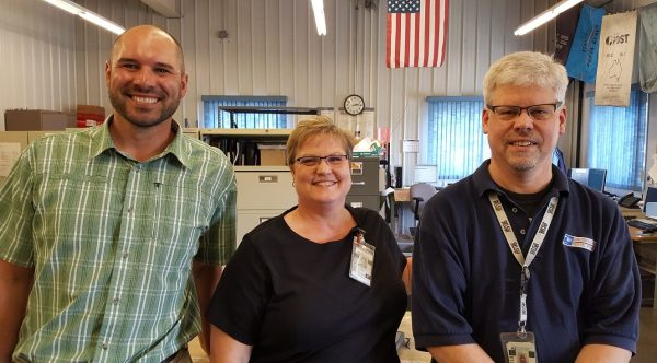 Waite Park, MN, Network Specialist Kris Roback and Business Mail Entry Techs Cindy Turner and Gary Granning