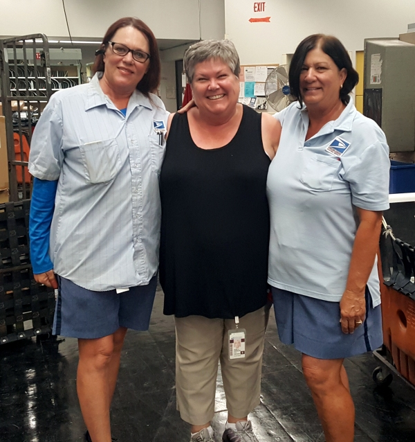 Mesa City Carrier Robin Henderson, Customer Services Manager Alice Gonzalez, and City Carrier Nikki Synodis.