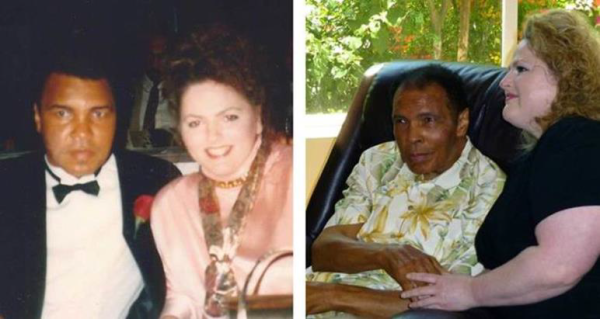 Left: Stephanie Meade poses with Muhammad Ali after meeting him in person for the first time at a 1991 charity event.  Right:  Meade met Ali again in 2014 at his home in Louisville, KY. (Photos courtesy Stephanie Meade)