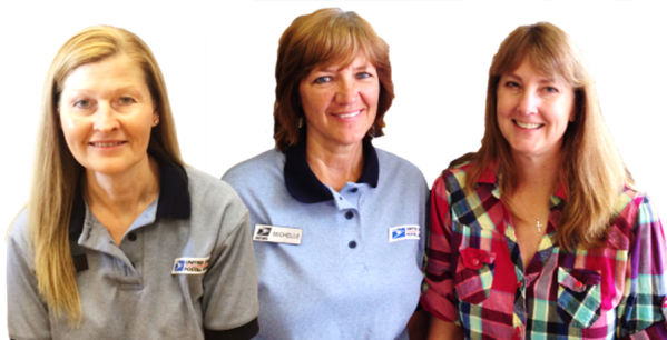 North Bend, NE, Retail Associates Cindy Madsen and Michelle Hoyt with Postmaster Sherry Carmichael