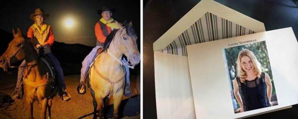 Left: Elena Heer (L), daughter of Guernsey, WY, Clerk Jane Heer and Guernsey Postmaster  Curt Artery saddled up under the light of a full moon during a recent Pony Express ride  reenactment. Right: Author Laura Vanderkam uses personalized stationery when keeping in touch with friends and contacts.