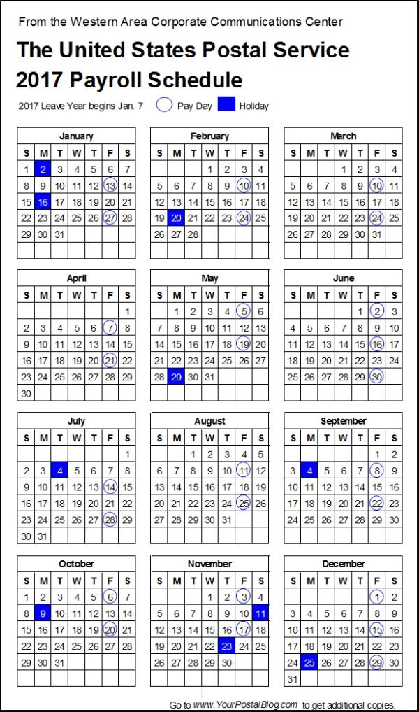 2017-postal-payroll-calendar