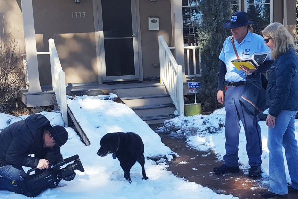 A videographer and crew from The Today Show featured Boulder, CO, Letter Carrier Jeff Kramer who built a dog ramp for an aging dog on his route.