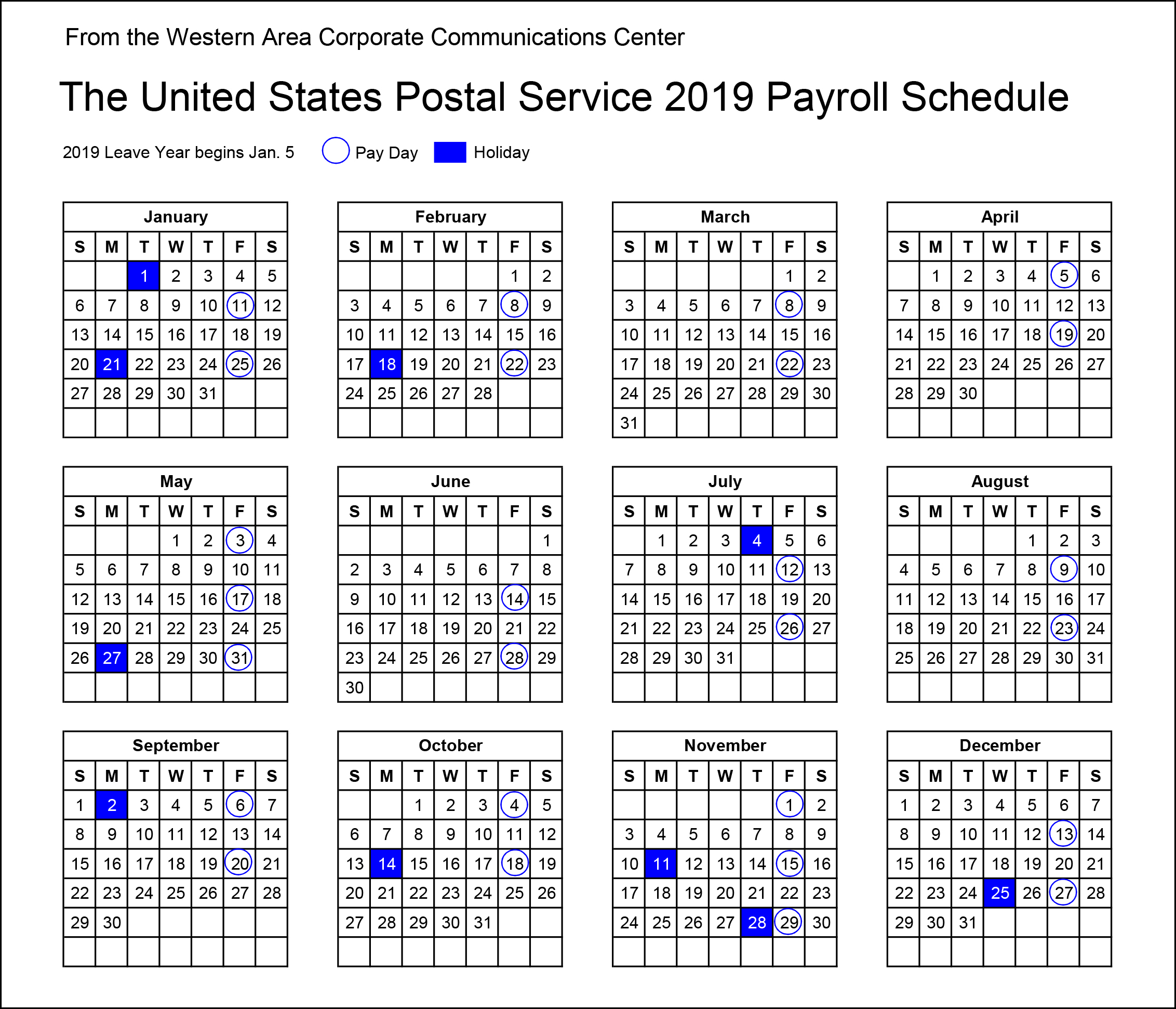 2019 Postal Payroll Calendar | Your Postal Blog